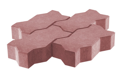 3D realistic render of three red lock paving bricks. Isolated on white