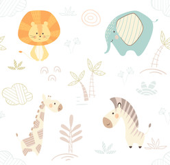 African cute animal pattern