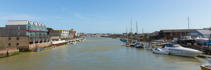 Littlehampton harbour West Sussex England UK River Arun with boats and panoramic view towards the sea