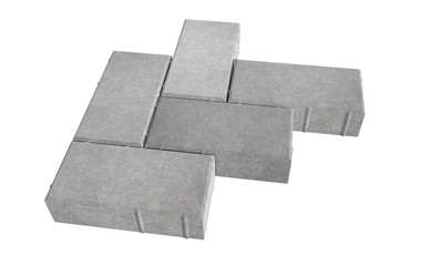3D realistic render of six grey lock paving bricks. Isolated on white background.