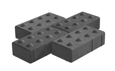 3D realistic render of three black lock paving bricks. Isolated on white background.