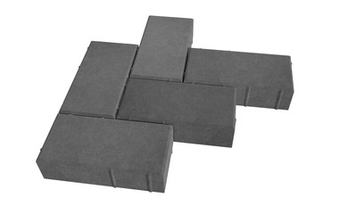 3D realistic render of six black lock paving bricks. Isolated on white background.