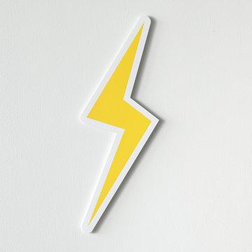 Yellow electric lightning bolt icon