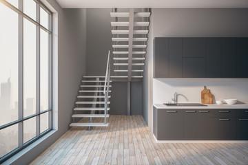 Contemporary loft kitchen interior