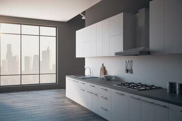 Contemporary loft kitchen interior side