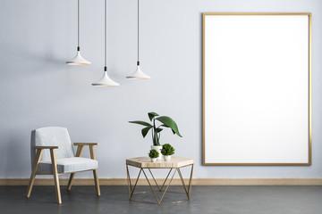 Spoed Foto op Canvas Planten Modern living room interior with banner