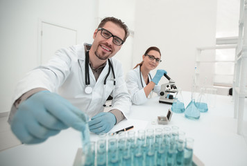 background image.scientists working in the laboratory