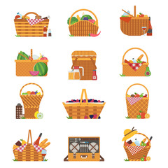 Wicker and willow picnic baskets isolated on white. Various weaving hampers in flat design. Straw picnic basket icon set with wine, bread, fruits and vegetables.