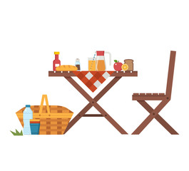Wooden picnic table and chairs with cloth, juice jar, fruits, straw basket and bread. Outdoor dining concept with summer outing barbecue elements.