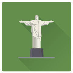 Christ the Redeemer at Rio de Janeiro, Brazil, flat design long shadow vector illustration