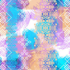 Seamless pattern boho style with watercolor effect. American Indian textile print. Ethnic navajo background.