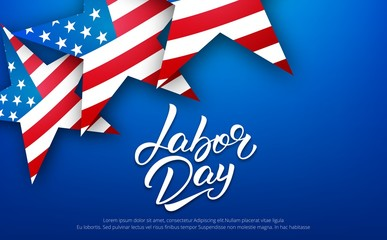 Labor Day. Banner for USA Labor Day sale, promotion, advertisement. Template with hand lettering and american stars