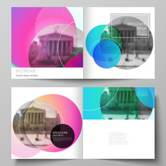 The vector illustration of editable layout of two covers templates for square design bifold brochure, magazine, flyer, booklet. Creative modern bright background with colorful circles and round shapes