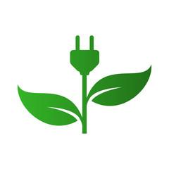 Icono plano enchufe con hojas en color verde