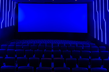 Printed roller blinds Theater Empty cinema hall with blue light