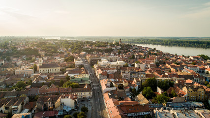 Drone photo of Belgrade and Zemun in Serbia