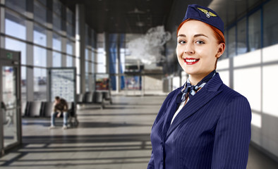 Airport background and stweardess
