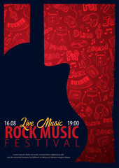 Rock Music Festival. Open Air. Flyer design Template with hand-draw doodle on the background.