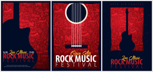 Rock Music Festival. Open Air. Set of Flyers design Template with hand-draw doodle on the background.