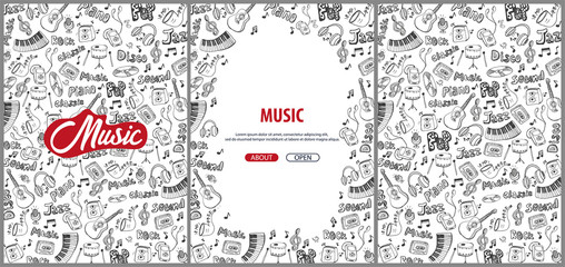 Set of Music backgrounds with hand-draw doodle elements.