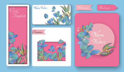 Pink paper invitations and greeting cards with beautiful eucalyptus.