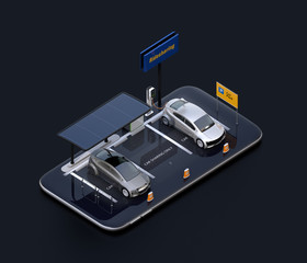 Isometric view of electric cars with solar panels, charging stations and battery on smartphone. Black background. Car sharing concept. 3D rendering image.