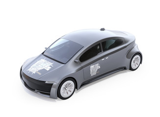 Metallic gray electric car with car sharing graphic pattern on hood and doors. White background. 3D rendering image.