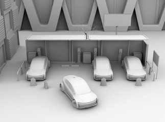 Front view of clay shading rendering of electric cars in car sharing only parking lot. 3D rendering image.