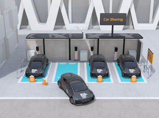 Front view of car sharing parking lot equipped with solar panels, charging stations and batteries. 3D rendering image.