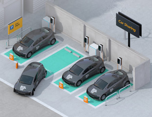 Isometric view of car sharing parking lot equipped with charging station and batteries. 3D rendering image.