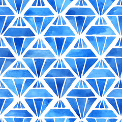 Watercolor geometric background with gemstone shapes in blue. Hand painted seamless pattern
