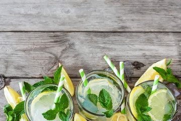 Chilled mint lemonade background