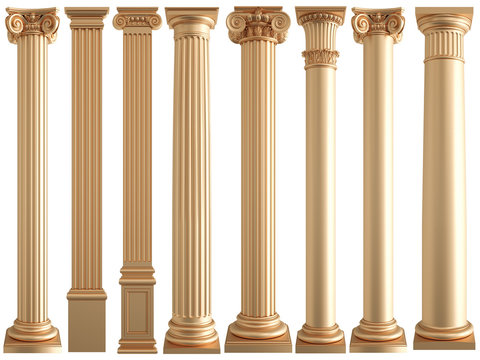 Golden columns on a white background. Isolated