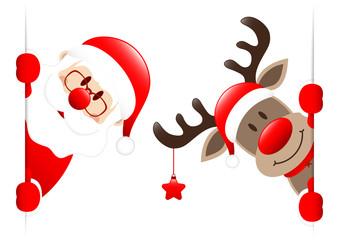Santa & Rudolph With Star Banner Inside