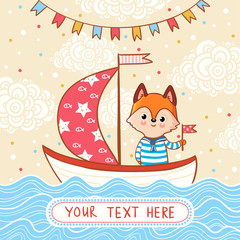 A fox sails on a festive sailboat by the sea. Vector illustration in cartoon style with place for text.