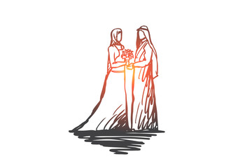 Wedding, bride, together, betrothal, islam concept. Hand drawn isolated vector.