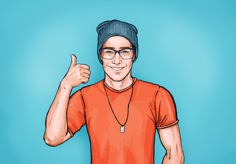 Smiling hipster man in glasses with Like sign. Advertising design with person that guarantees the quality of work or services. Male in orange t-shirt and hat shows thumb up.