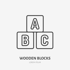 Toy blocks line icon, alphabet cubes flat logo. Baby abs game vector illustration. Sign for kids shop.