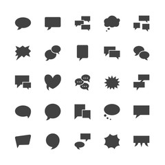 Speech bubble speech flat glyph icons. Chat, comment, idea illustrations. Signs for communication concept. Solid silhouette pixel perfect 64x64.