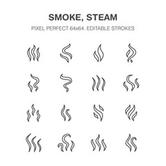 Smoke, steam flat line icons. Fumes shapes, aroma smell heat illustrations. Evaporation signs. Pixel perfect 64x64. Editable Strokes.