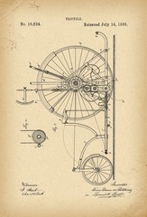 1885 Patent Velocipede Tricycle Bicycle archive history invention