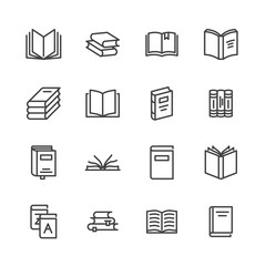 Books flat line icons. Reading, library, literature education illustrations. Thin signs for e-book store, textbook, encyclopedia. Pixel perfect 64x64. Editable Strokes.