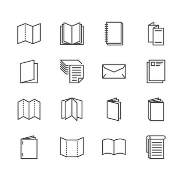 Brochure flat line icons. Business identity illustrations - letterhead, booklet, flyer, leaflet, corporate catalogue, envelope. Thin signs for print shop. Pixel perfect 64x64. Editable Strokes.