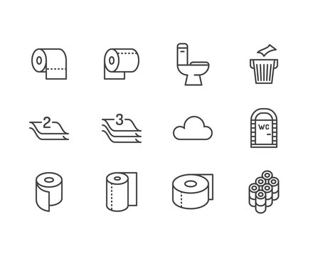 Toilet paper roll, towel flat line icons. Hygiene illustrations, mobile wc, restroom, tree layered napkin. Thin signs for household goods store. Pixel perfect 64x64. Editable Strokes.