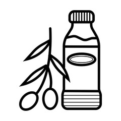 Bottle of olive oil and branch vector