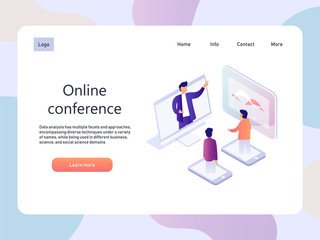 Online conference. Education isometric landidng page. Technology vector illustration