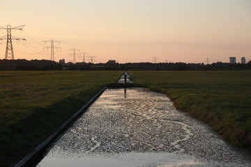 Sunset in the Eendragtspolder in Zevenhuizen, used for water storage from river Rotte to protect Rotterdam against flooding.