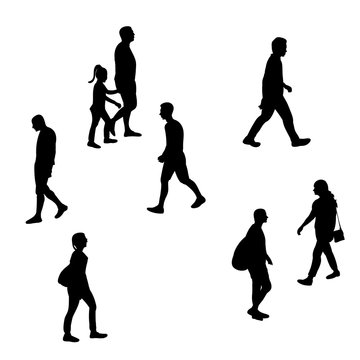 isolated, silhouette of people walking
