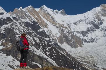 The climber looks at Annapurna
