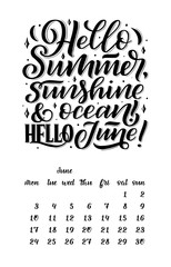 Vector calendar for month 2 0 1 9. Hand drawn lettering quotes for calendar design. Hand drawn style